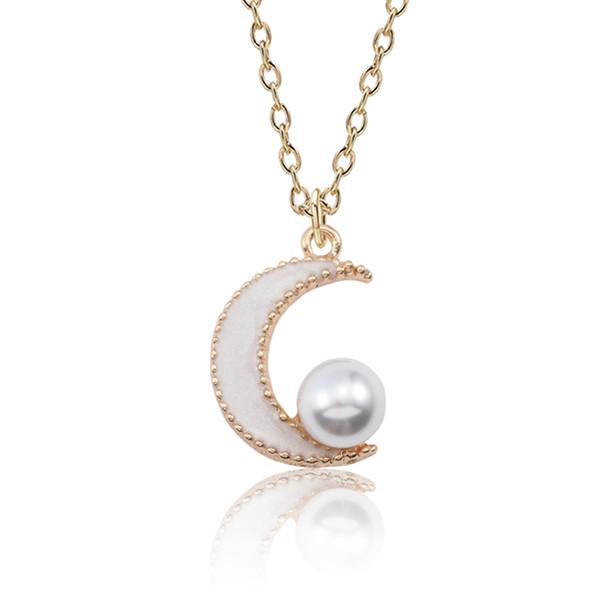 Trendy Emaille Schwarz Weiß Rosa Mond Anhänger Halskette Für Frauen Mädchen Schöne Perle Gold Kette Halskette Schmuck Großhandel Bijoux Femme
