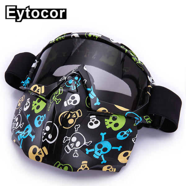 EYTOCOR Anti-wind Dustproof Multicolor Frame Polycarbonate Lens ATV Dirt Bike Goggles Oculos MX Off road Motocross Goggles Mask