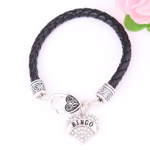 Fashion Female Heart Bracelet BINGO Written Personality Word With Sparkling Crystals Leather Chain Zinc Alloy Provide Dropshipping