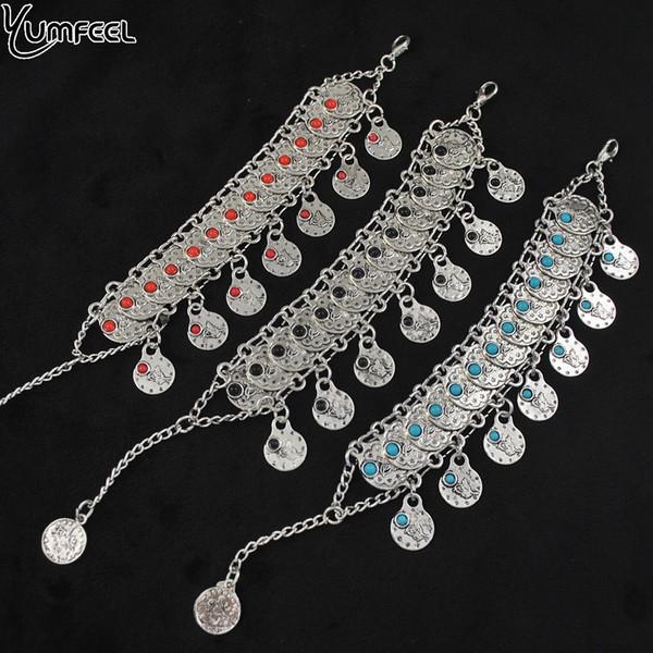 Yumfeel новый старинные ювелирные изделия античный посеребренные Шарм браслеты для женщины синий черный красный монета браслет подарки