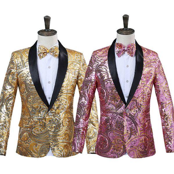 2018 Mens Pink Gold Flower Sequins Fancy Paillette Wedding Singer Stage Performance Suit Jacket Annual DJ Blazer With Bow Tie