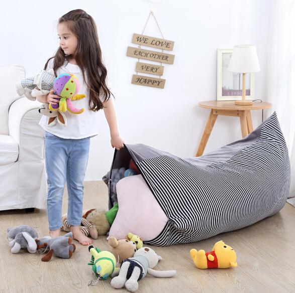 Bolsa de almacenamiento de juguetes para niños 2 en 1 Animal de peluche Muñeca de peluche Bolsa de almacenamiento Organización Sillón plegable para niños Asiento Cojín Decoración