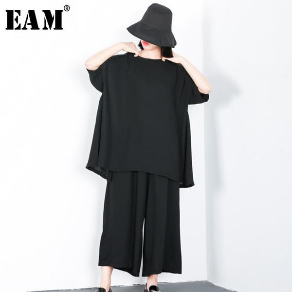 [EAM] 2018 New Autumn Balck Loose Casual O-neck Half Sleeve T-shirt Elastic Waist Wide Leg Pants Women Fashion Tide Set LA890
