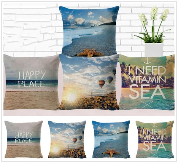 New Wonderful Beach View Pattern Pillow Case Home Bed Decoration Cushion Cover Pretty Gifts Free Shipping