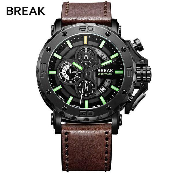 BREAK 5689 Hombres Correa de cuero de lujo Moda casual Cronógrafo Luminoso Negocio Deporte Relojes de pulsera de cuarzo Hombre Reloj militar