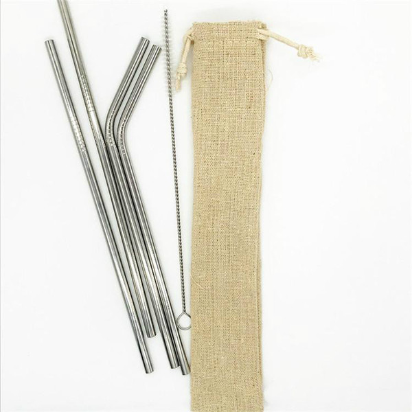 """best selling 8.5 """" Reusable Metal Straw Set Stainless Steel Straw Set with Cleaning Brush Linen Bag Packing 4+1 Free Combination straight bend DHL"""
