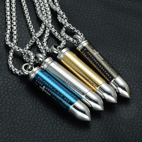punk stainless steel men lord's prayer hollow bullet vintage cross necklace pendant box chain man party jewelry collier h017