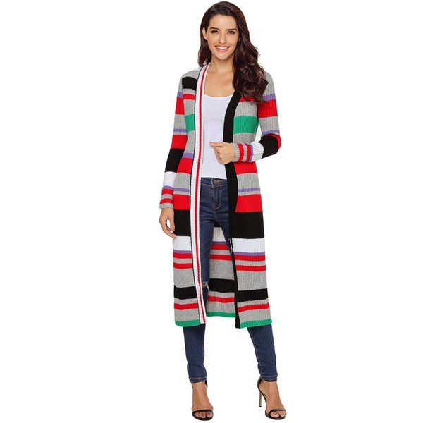 Women New Autumn Winter Knitted Warm Sweater Multicolor Striped Long Sleeve Open Front Cardigan Coat