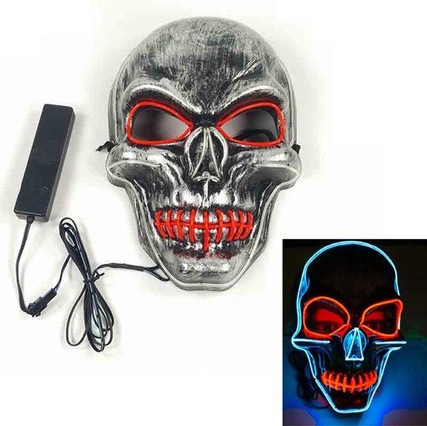 LED Glowing skull mask Halloween mask cold light Horror Face Shied Terror Masks Plastic Human skull Masks for Halloween Outdoor Party