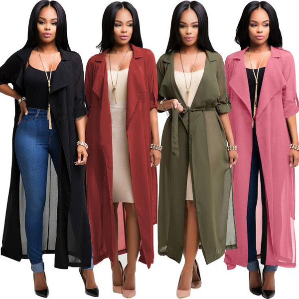 Women Chiffon Long Sleeve Cardigan Jacket Coat Blouse Tops Casual Coat Loose Tops Chiffon Jacket LJJK863