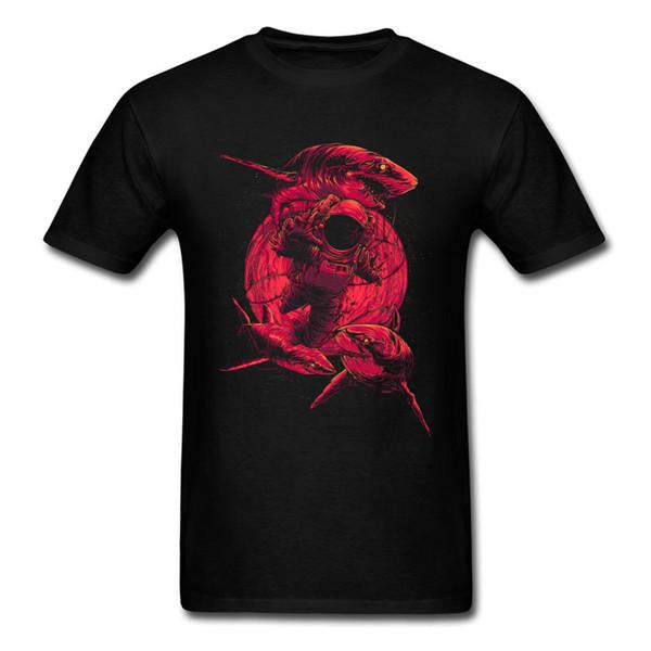 New 2018 Deep Sea Space Awesome Red Moon Shark Astronaut Print Men's Black T Shirts Short Sleeve Tee 3xl Tops