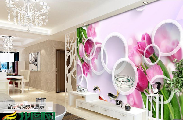 3d Wall Murals Circle Pink Lily Photo Wallpaper For Living Room Bedroom Flower Butterfly Hotel Home Office Restaurant Kitchen Wallpaper Imaging