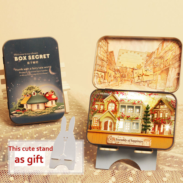 Miniature Doll House DIY Wooden Dollhouse Box Theater 3D Doll Houses Kits Model Warm LED Light for Kids Christmas Birthday Gift