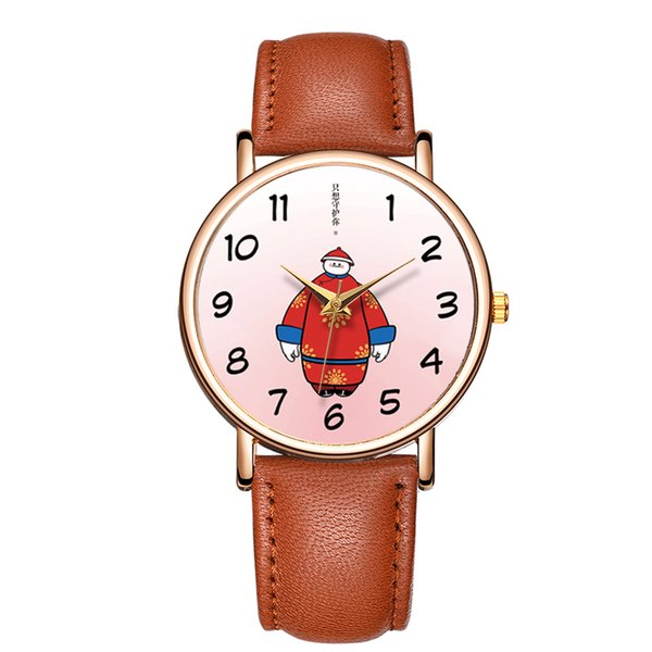 Baosaili China Style Lovely Watch Men Character Leather Strap Simple Casual Ladies Quartz Wristwatch Promotional Watch B-9086