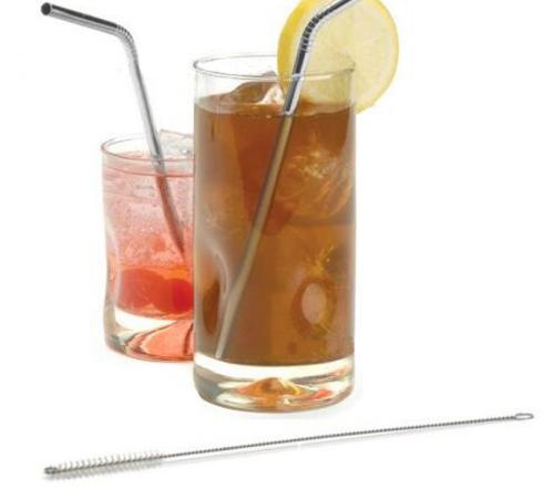 14 Pcs Stainless Steel Straw With Cleaning Brush Eco -Friendly Drink Tea Bend Straws Metal Muddler Bar Accessories
