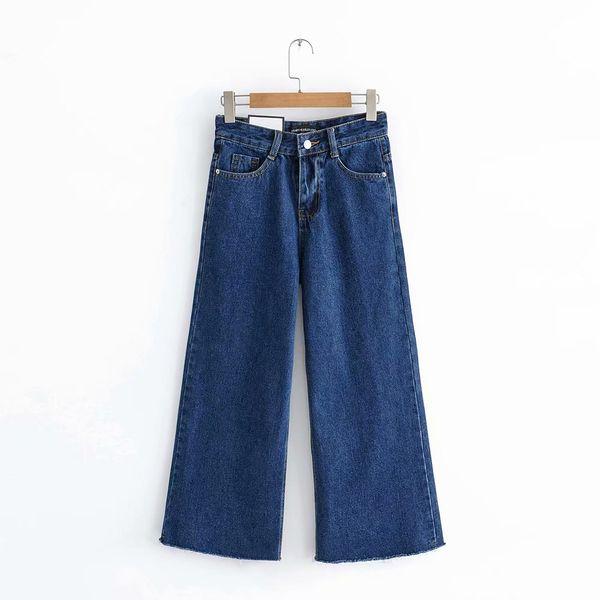 wholesale Mid Waist Jeans for Women Straight Cotton Denim Pants Wide Leg Pants Mom Jean 2018 Fashion Loose Jeans