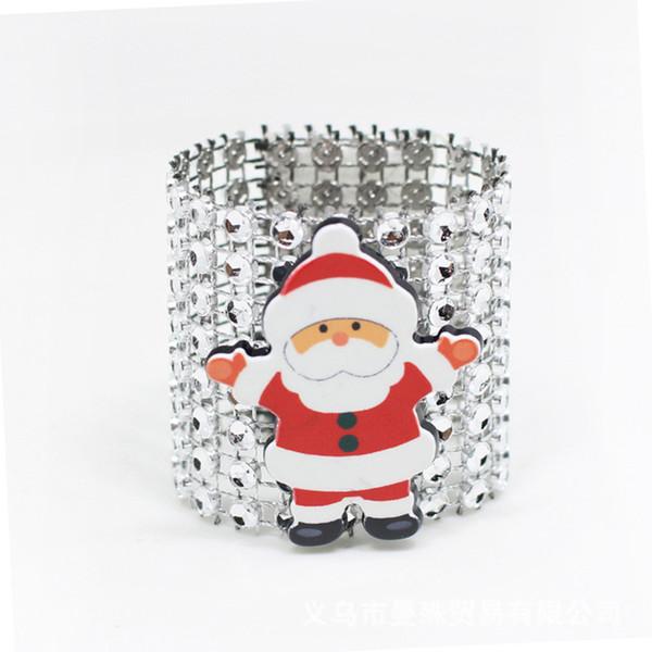 20pcs/lot SHSEJA Santa napkin ring decoration supplies napkin buckle 8 row net diamond ring Christmas hotel supplies