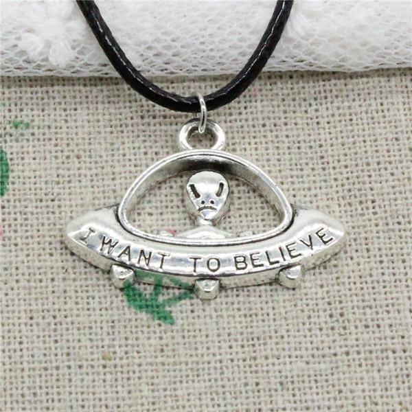 Creative Fashion Antique Silver Pendant alien ET believe spaceship 23*30mm Necklace Choker Charm Black Leather Cord Handmade Jewlery