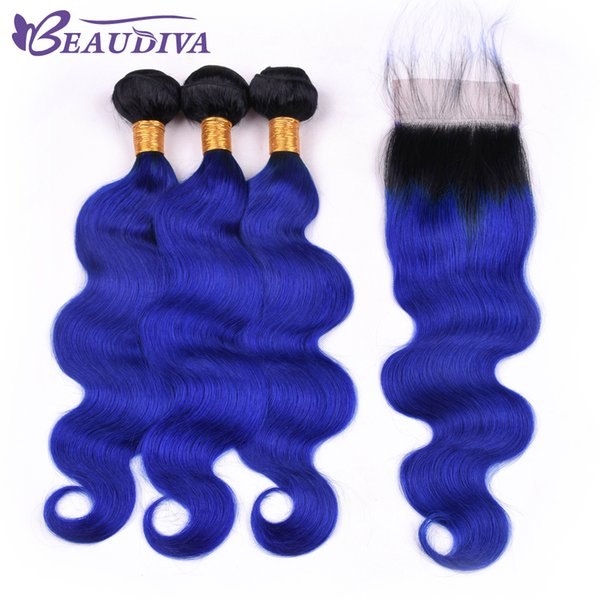 Beau Diva Pre Colored TB/Blue Brazilian Virgin Human Hair Bundles With Closure Straight 100% Ombre Hair Bundles With Closure 4*4 Remy
