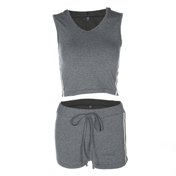 Focal20 Streetwear Women Fashion Side Stripped Tank Top And Eiastic Shorts Two Piece Set Crop Top And Sporting Shorts Women Sets