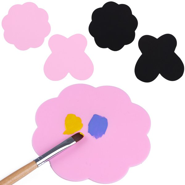 2Pcs Silicone Paint Palette Mat Butterfly Plum Blossom Foldable Washable Nail Art Stamping Pads DIY Drawing Tools
