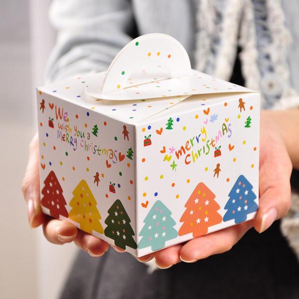 Postres Para Una Feliz Navidad.Compre Feliz Navidad Caja De Manzana Paquete Cubo Portatil Bolsa De Dulces Fiesta Torta Postre Doblado Cajas De Papel Para Ninos Decoracion De Navidad
