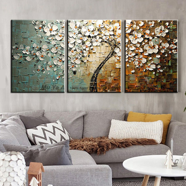Main peinture décorative à la main pas cher moderne peintures couteau à palette acrylique peinture arbre photos de mur pour le salon