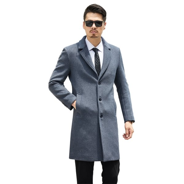 Winter Men's Woolen Coat parka Long Jackets Slim Overcoat Warm Collar Business Mens Windbreaker Winter casual Wool high quality