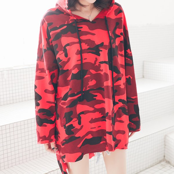 Women Camouflage Oversized T Shirt Long Sleeve Plus Size Hooded Tee Shirts Girls Batwing Harajuku Punk Rock Tops Kawaii Clothes