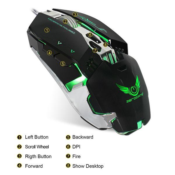 ZERODATE X800 Gaming Mouse USB Wired Mouse 3200DPI Programación 8 Botones de Respiración LED Gamer Black para Computadora