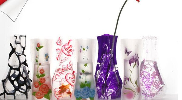 12*27cm Creative Clear Eco-friendly Foldable Folding Flower PVC Vase Unbreakable Reusable Home Wedding Party Decoration
