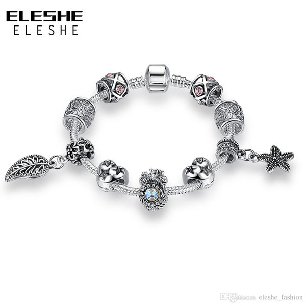 ELESHE European Silver Plated Starfish Leaves Beads Charms Bracelets For Women Safety Chain Bracelets&Bangles DIY Original Jewelry Making