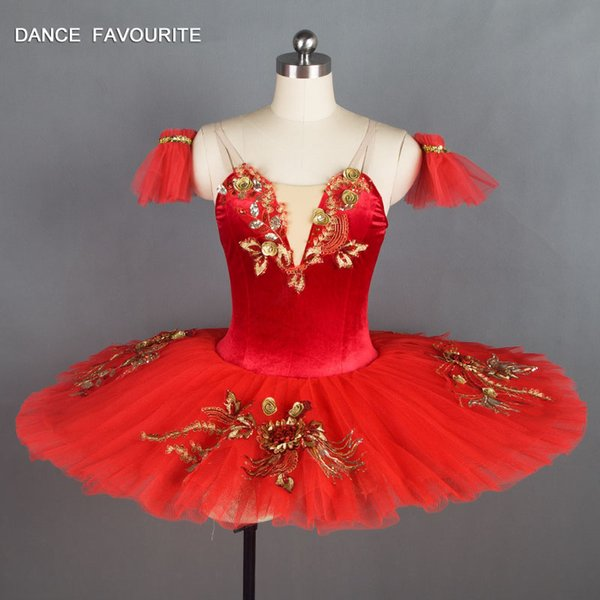 Red Velvet Bodice Pre-professionelle Ballett-Tutu-Mädchen-Frauen-Ballett-Ballettröckchen-Ballerina-Tanz-Kostüme