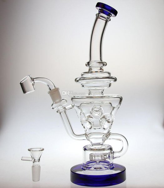"hot Bong Thick glass 10.5""FTK glass recycler with showerhead perc glass water pipe hollow out design design 14.4mm joint"
