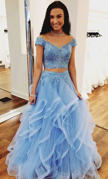 Light Blue Two Piece Prom Dresses 2018 New Off The Shoulder Floor Length Party Gowns Lace Beading Tiered Long Evening Dress Custom Made