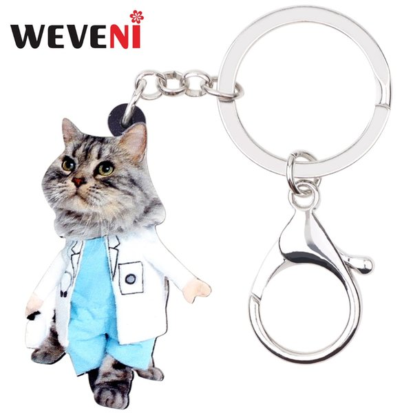 weveni statement cartoon lovely suits cat kitten key chains keychain rings handbag car charms animal jewelry for women girls pet, Silver