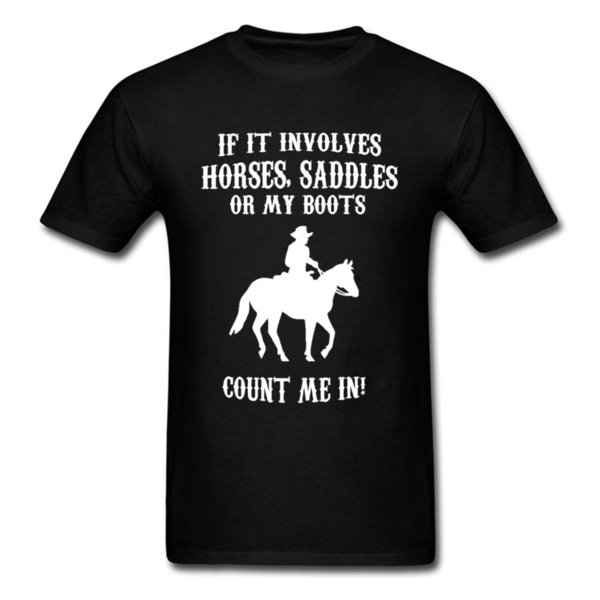 Horse Lover Club T Shirt For Men Funny Cowboy T Shirt Hot Sale Tshirts O - Neck 100% Cotton Fabric Clothes Black White Hip Hop Tee