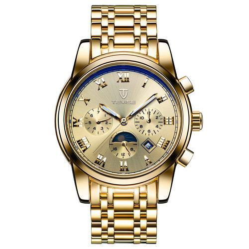 TEVISE 9005 Mens Watches Automatic Watch Moon Phase Luminous Date Mechanical Wristwatches Male Hours Clock Wrist Watch