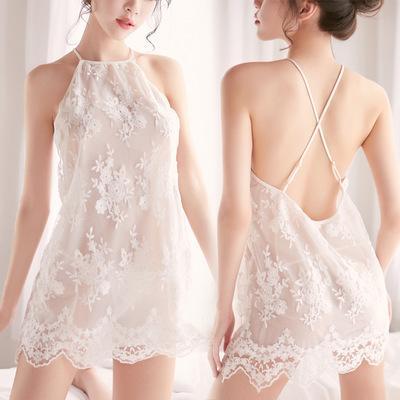 Hot sale women fashion sexy sleepwear lace design back criss cross Baby doll Lingerie night wear Hollow Translucent Underwear short dress S4
