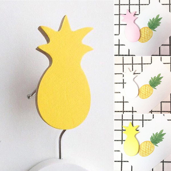 4.5CM*9CM Wooden Pineapple Hooks For Hanging Self Adhesive Wall Hooks Key Towel Hanger Bag Purse Door Holder Kids Bedroom Decor