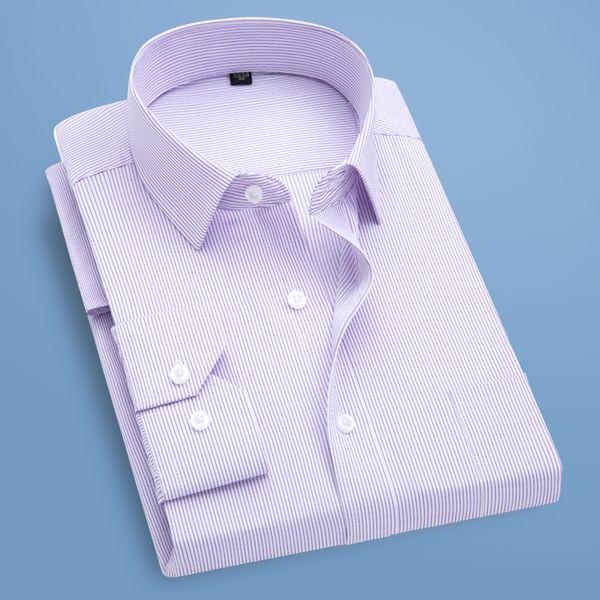 High Quality Classic Style Bamboo Fiber Men Dress Shirt Stripe Color Men's Social Shirts Office Wear Easy Care Regular Fit Top