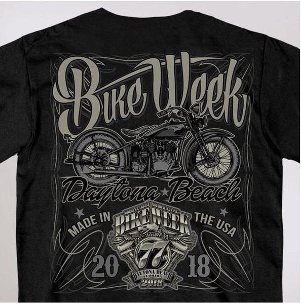2018 dos homens novos da semana do motociclista Daytona Beach 2018 rótulos licor de design de manga curta camiseta # 1122 camiseta