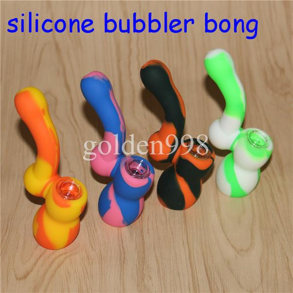 Bongos De Água de Silicone Camuflagem Pure Color Plataformas de Petróleo de Silicone mini bongo bongo Cachimbos de Água Livre de Vidro Tigela néctar coletor dabber ferramentas