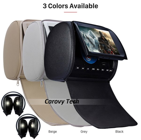 2pcs Universal 9 inch Car DVD Player Headrest Dual Media System+2pcs Wireless Headphone