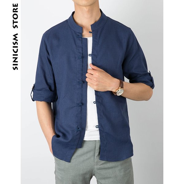 Sinicism Store 2018 Mens Casual Linen Shirts Three Quarter Sleeve Solid Color Chinese Clothes Male Fashion Summer Shirts