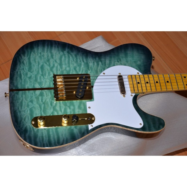 Blue Sunburst Quilted Maple Top Merle Haggard Tuff Dog Tele TL Electric Guitar Maple Neck & Fingerboard, String Thru Body, Gold Hardware
