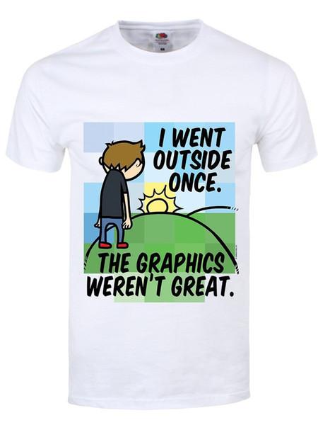 Herren T-Shirt Eu Fui Lá Fora Uma Vez Os Gráficos Não era Grande weiß Nova Camisa de Manga Curta de Metal Casual de Manga Curta T camisa de Algodão Camisetas