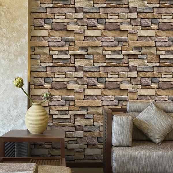 Simulación de Piedra de Ladrillo Efecto Rústico Autoadhesiva Etiqueta de La Pared Vinilo Removible 3D Wall Paper Living Room Dormitorio Para la Decoración Casera