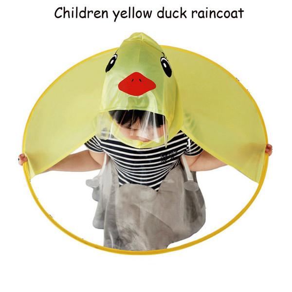 best selling 2018 New Design Raincoat Kids Cute UFO Rain Coat Children Creative Umbrella Hat Magical Hands Free Raincoat Cute Duck Rain Gear