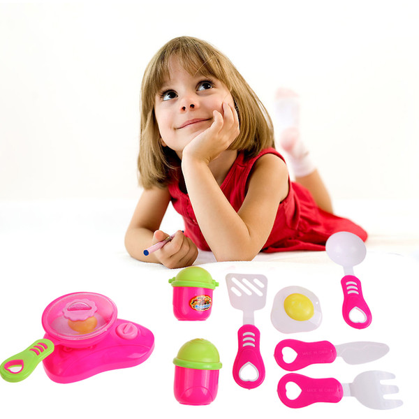 best selling Kitchen Cooking Toy Children DIY Beauty Plastic Kitchen Toy Role Play Toy Set Children Pretend Play Educational Toys Red Pink